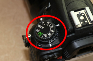 DSLR mode dial on manual